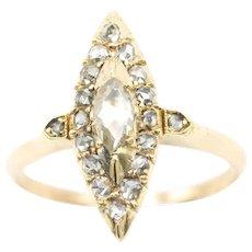 14 Carat gold rose diamond marquise shaped ring