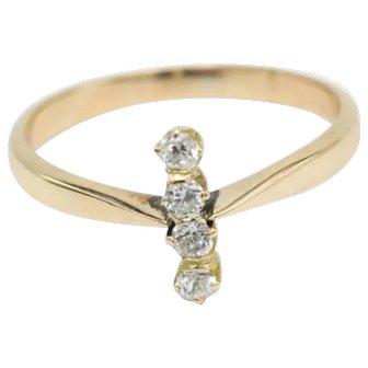 Antique Dutch four stone old cut diamond ring in 14 carat gold