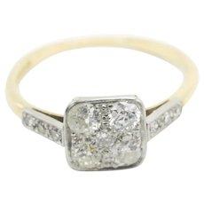 Art Deco platinum and 18 carat gold old cut diamond ring