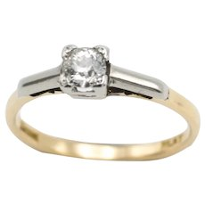 Old cut diamond solitaire ring in platinum and 18 carat gold