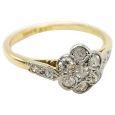 Vintage diamond daisy ring in 18 carat gold and platinum