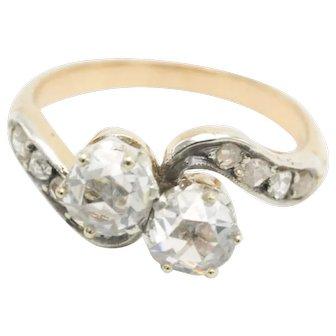 A 'toi et moi' rose diamond ring in 18 carat gold