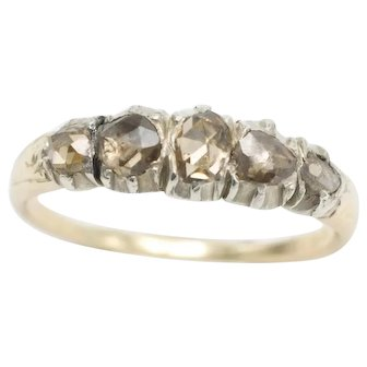 Five stone rose diamond ring in silver and 14 carat gold