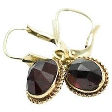 Garnet pendant earrings in 14 carat gold