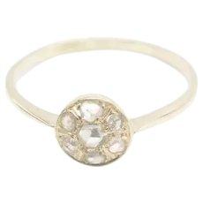 Antique rose diamond cluster ring in 14 carat gold