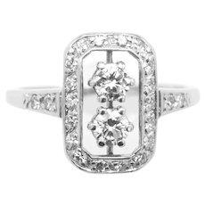 Art Deco white gold diamond ring