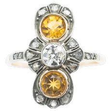 Golden topaz and diamond Art Deco ring