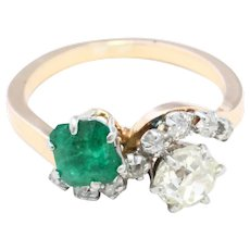 Toi et Moi emerald and old cut diamond ring in 18 carat gold