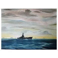 Richard Warner Saar USCGR artist WWll watercolor painting