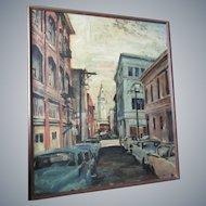 "Larry Korneman 1959 framed 36""x 30"" o/c,San Francisco street scene"