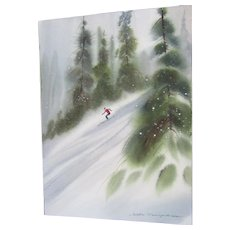"Luella Morgenthaler 9""x 12 1/4"" watercolor/artist board painting ""lone skier"" unframed"