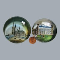 2 antique Victorian British souvenir glass paperweights, decorated with printed and painted images