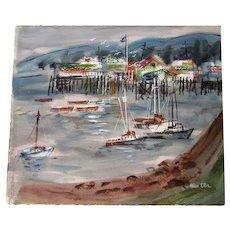 "Alice Ellis ""Monterey harbor"" watercolor painting"