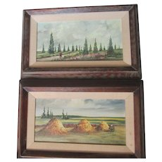 Montanola aka Miguel Angel Gomez Cruz (1906-1994) pair oil/canvas,framed paintings