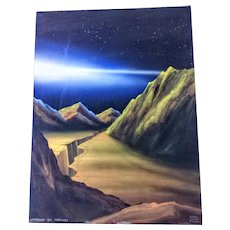 "Morris Scott Dollens watercolor/Gouache painting,titled""Sunset on Mercury""."