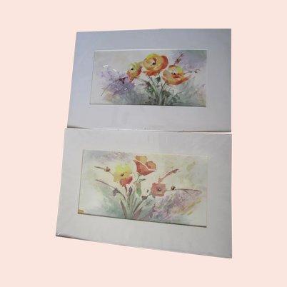 Two Rusty Hoeffner floral watercolor paintings