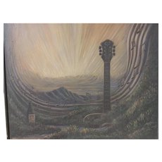 Dennis McGeary Hawaiian artist acrylic/canvas fanciful landscape with guitar