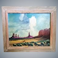 Sid Mountain,oil/board,Monument Valley, rustic frame,