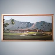 """J.Lewis Bowker""""Indian Wells Country Club"""" 15""""x30"""" oil/canvas original painting,Ca.Artist!"""