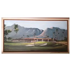 "J.Lewis Bowker""Indian Wells Country Club"" 15""x30"" oil/canvas original painting,Ca.Artist!"