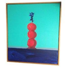 "David Dornan 1991 framed Oil/Canvas""Swizzle""still life w/Cherries,34""X39"",large Beauty"