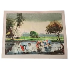 A.Aziz Indonesian artist,original Watercolor painting,planting Rice,Malaysia,77!