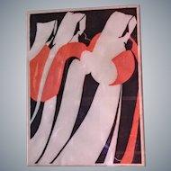 "Kathryn Brockhagen colored woodcut print""Pilgrims""framed,original Calif fine art.8/50 LE"