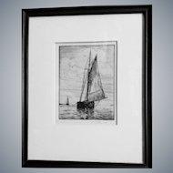 A.R.Thayer(1878-1965)Boston harbor Etching,sailboat,nautical fine art,vintage