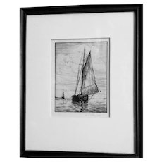 A.R.Thayer(1878-1965)Boston harbor Etching,sailboat,nautical fine art,vintage