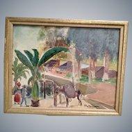 "Edward T.Deutsch 1937 watercolor painting,Patzcuaro,Mexico,WPA artist,14"" x10"""