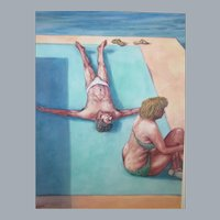 "John A. Komisar, CA Artist, 20""x 16"" Watercolor,2 figures by the pool,art Teacher"