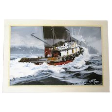 William E Ryan original watercolor, Tugboat,Ocean Liner, Washington State artist