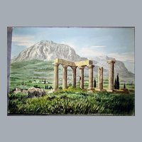 "Greek Ruins bucolic Scene Watercolor by, D. Vassiliou, 14""x10"",Orientalist Genre painter,"