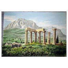 """Greek Ruins bucolic SceneWatercolorby, D.Vassiliou, 14""""x10"""",Orientalist Genre painter,"""