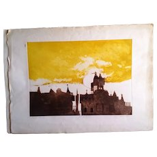 """Alec Cowan large colored Etching,artist proof(Carson house)signed/pencil,30""""x22"""""""