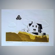 Alec Cowan large colored Etching(Lighthouse)signed/pencil,artist proof,fine art!