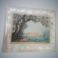Vintage Andre Collot hand colored Etching,Art Nouveau era,signed/pencil,French!!