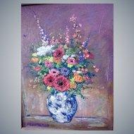 Fred M.Rash(Am.1919-1998)O/C heavy impasto,floral Still life painting