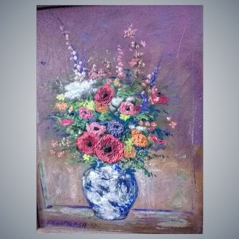 Fred M.Rash(Am.1919-1998)O/C heavy impasto,floral Still life painting