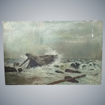Antique Danish oil painting/canvas,Original,Boat,Shipwreck,signed unknow artist!