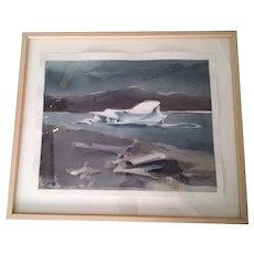Leszek Forczek, CA Artist,framed watercolor painting,Iceberg,Illuminism,fine art!