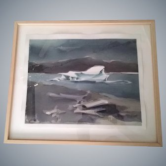 Leszek Forczek, CA Artist,framed watercolor painting,Iceberg,Illuminism,fine art!