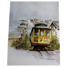 Steve Polomchak watercolor painting San Francisco streetcar, unframed,