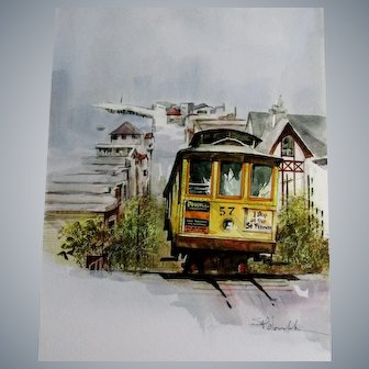 Steve Polomchak watercolor painting San Francisco streetcar, unframed,
