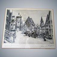 "Prof.Paul Geissler 10""x 8"" etching, framed, signed, German artist"