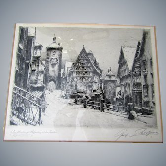 "Prof.Paul Geissler 10""x 8"" etching, framed, signed, German artist"