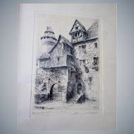 """Paul Geissler 12""""x 8""""(sight)etching, framed, signed,titled in ✏️"""