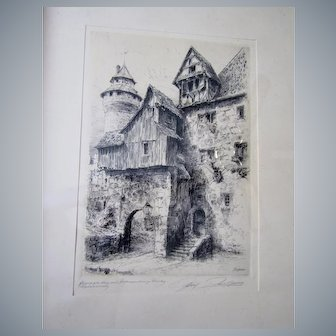 "Paul Geissler 12""x 8""(sight)etching, framed, signed,titled in ✏️"