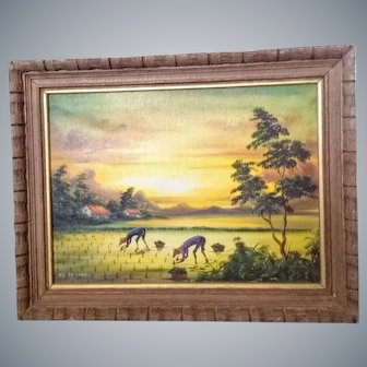 Hsi Fu Chen Chinese artist,planting rice,oil/canvas fine art painting,nice Frame