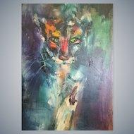 "Irene C. Robinson, Stalking Cougar,framed 30""x 15"" O/C, California Impressionist artist"